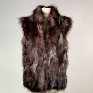 Multicolor oversized fox fur vest